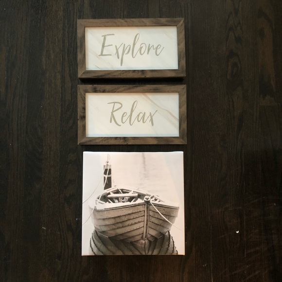 Rustic artwork - Explore, Relax and boat